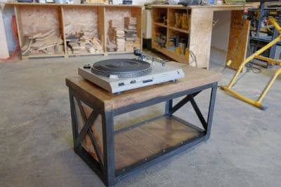 Metal Record Player Stand End Table