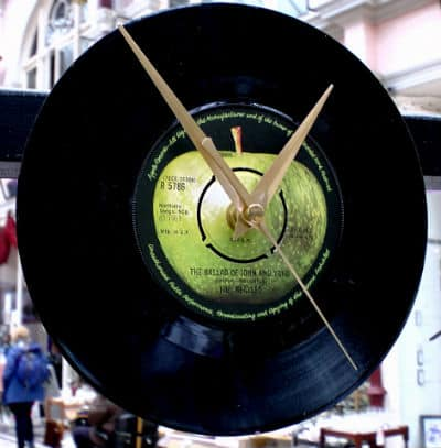vinyl record clock on the wall from the beatles