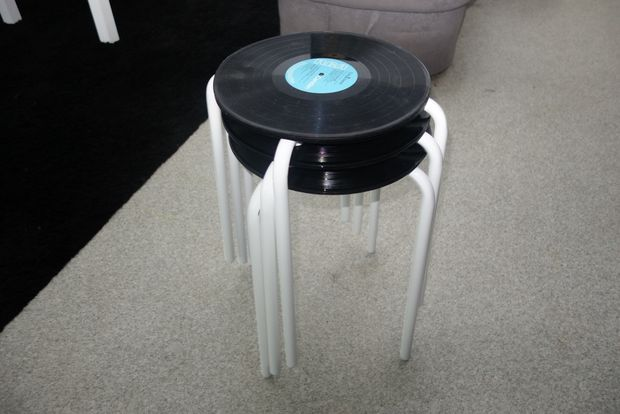 stool with record as top