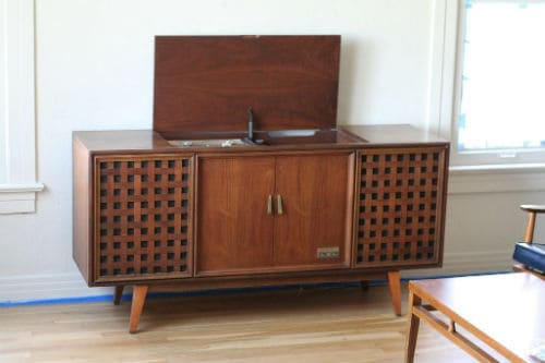 vintage record player stand zenith brand